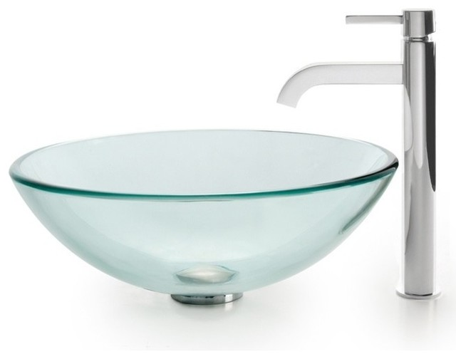 Tall Contemporary Chrome Bathroom Vessel Sink Faucet: Clear Glass Vessel Sink & Ramus Faucet (Chrome