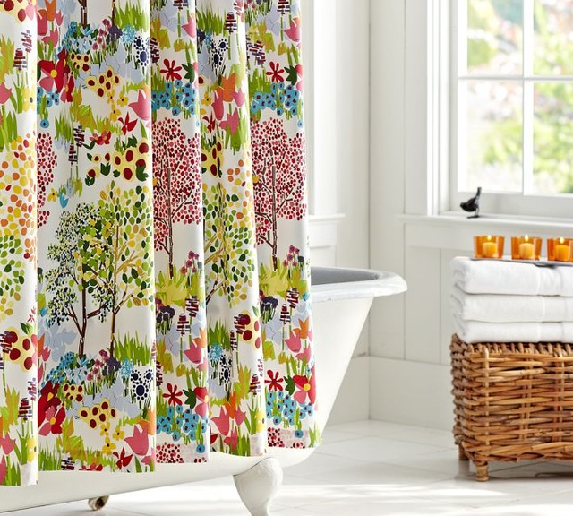 Woodland Shower Curtain Contemporary Shower Curtains By Pottery Barn