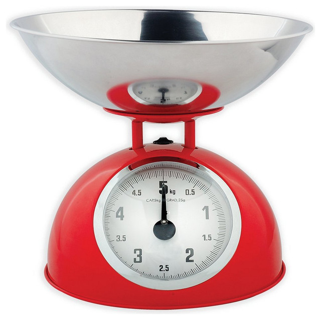 Red Retro Mechanical Kitchen Food Scale Traditional