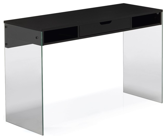 krystal bureau noir avec pied en verre et tiroir moderne. Black Bedroom Furniture Sets. Home Design Ideas