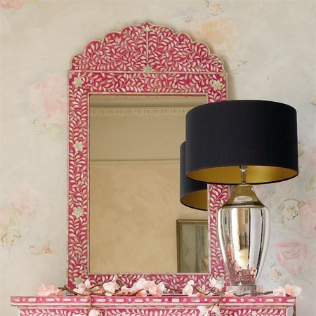 Pink Amp Mother Of Pearl Crown Mirror Contemporary Wall