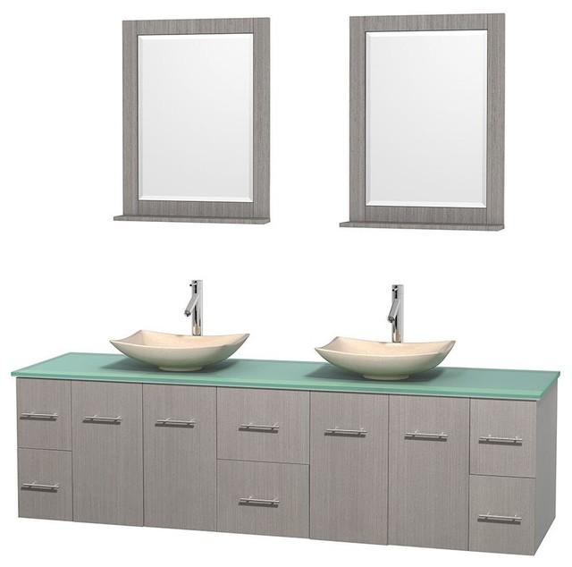 Creative  Bathroom Vanity In Espresso Green Glass Countertop Undermount Square