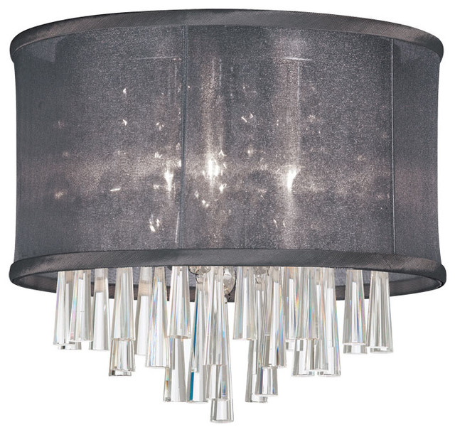 light crystal flush mount fixture black organza drum shade