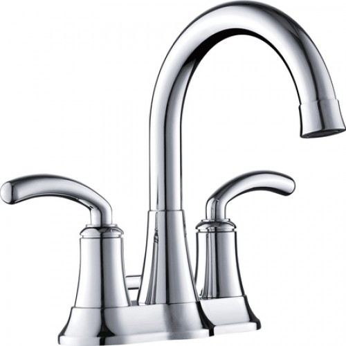 Two Handle 4 Inch Center Set Lavatory Faucet With Pop Up Drain Contemporary Bathroom Sink
