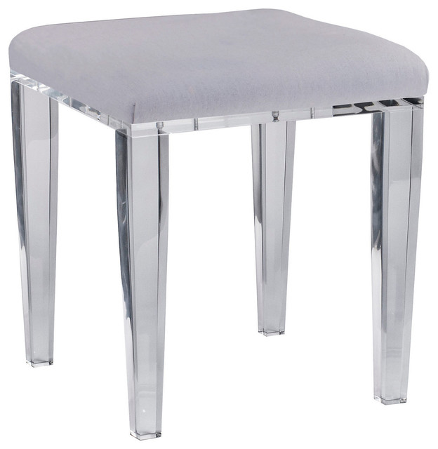 Acrylic Chelsea Vanity Stool Gray Contemporary Vanity Stools And Benches By One Kings Lane
