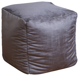 Jamie Microfiber Square Kids Bean Bag Grey Modern