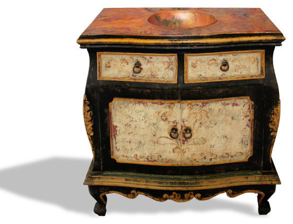 Bombay distressed vanity black baroque with antiqued for Baroque style bathroom