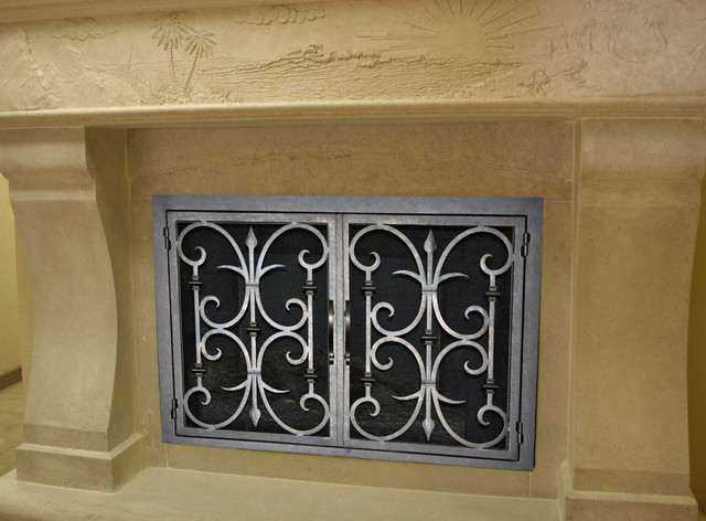 Fireplace doors and fireplace screens transitional fireplace screens san diego by mantel - Houzz fireplace screens ...