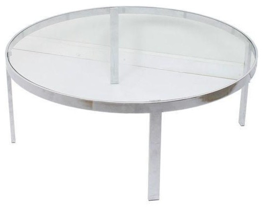 Milo Baughman Glass Chrome Round Coffee Table Contemporary Coffee Tables By Chairish