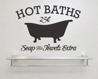 Hot Baths Soap and Towels Extra Removable Vinyl Wall Art vintage sign bath house - Farmhouse ...