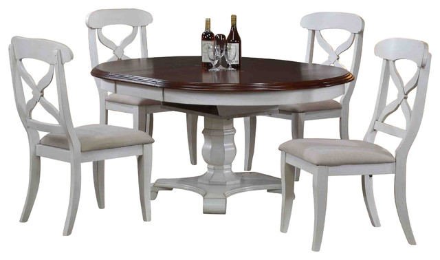 5 Piece Andrews Butterfly Leaf Dining Set Antique White Farmhouse Dining
