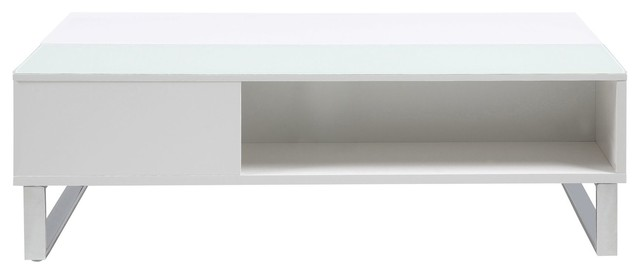 Azalea table basse avec tablette relevante et niche blanche contemporary - Table basse relevante ...