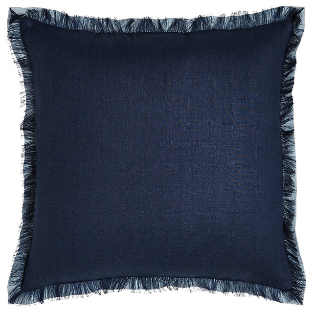 Decorative Throw Pillows With Fringe : Navy Fringed Linen Pillow - Contemporary - Decorative Pillows