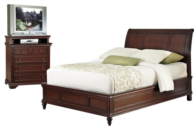 lafayette queen full sleigh headboard and media chest