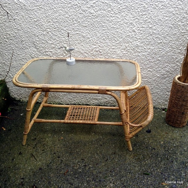 Retro Cane Coffee Table With A Glass Top