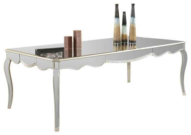 Camille dining table by elegant lighting silver leaf finish transitional dining tables by - Silver dining tables ...