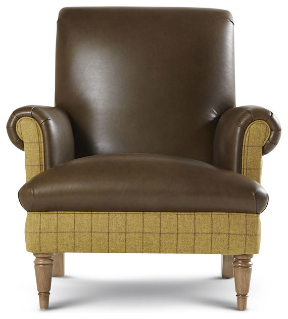 Petite style brown leather chair - Traditional - Armchairs ...
