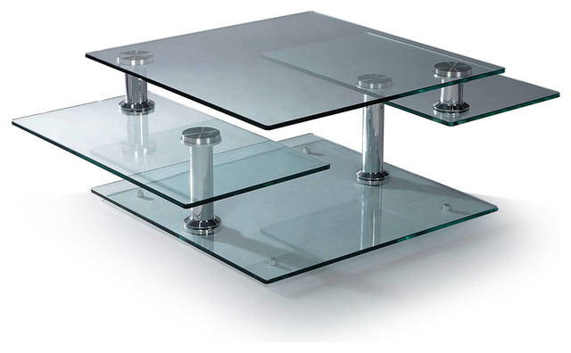 Modern Glass And Chrome Rectangular Motion Coffee Table Turin Modern Coffee Tables San
