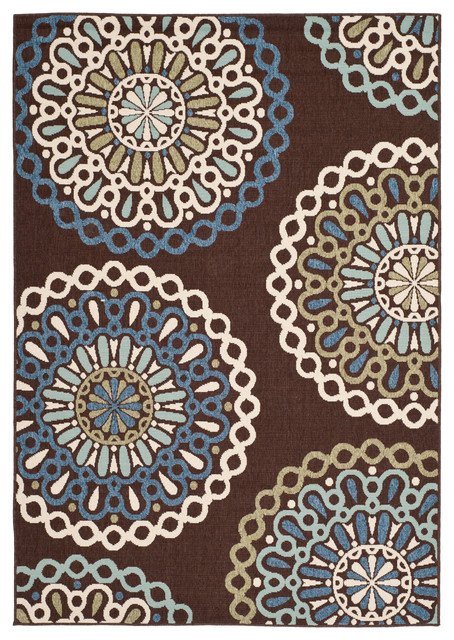 Contemporary Outdoor Patio Rugs :  IndoorOutdoor Rug, ChocolateBlue 4×57 contemporaryoutd