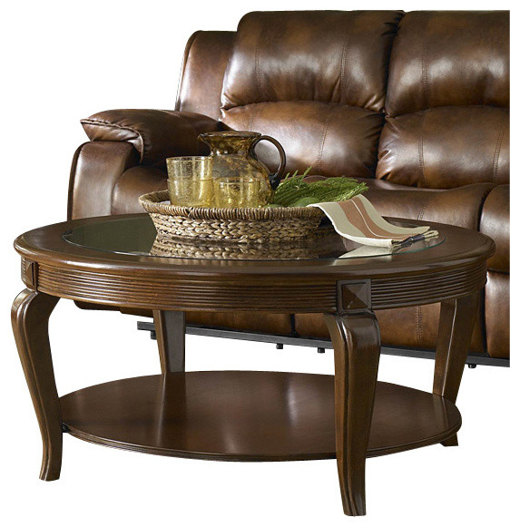 Homelegance Schiffer 3 Piece Coffee Table Set With Glass Insert Traditional Coffee Table