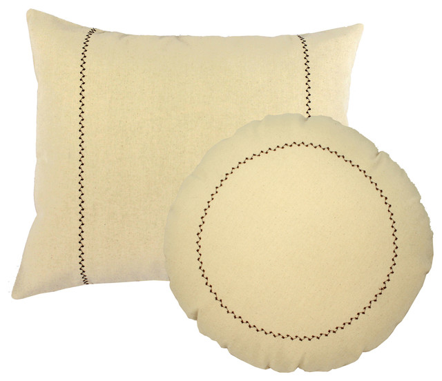Round Brown Throw Pillow : Solid Color Rectangle Round Pillows Embroiderd Cushions - Contemporary - Decorative Pillows - by ...