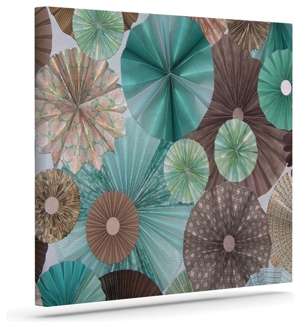 Heidi jennings atlantis teal brown wrapped art canvas for Blue and brown wall art