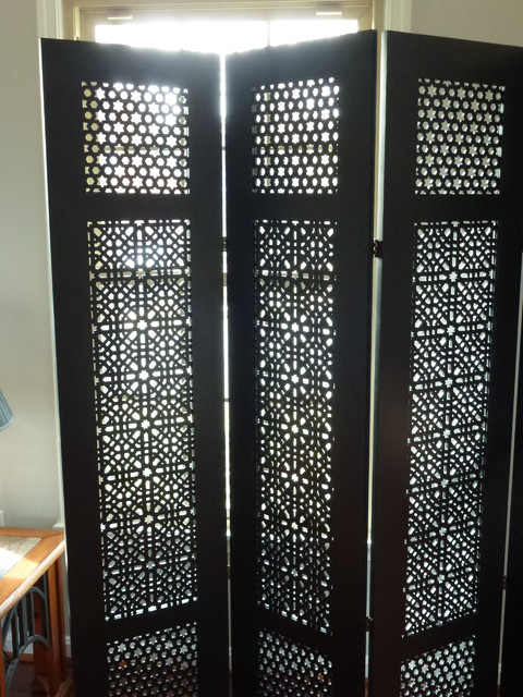 6 Ft Tall Solid Frame Fabric Room Divider 4 Panels: Moroccan-style Room Divider