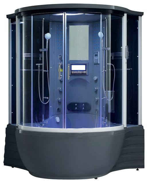 Florence Steam Shower Sauna With Jacuzzi Whirlpool Massage Bathtub, Gray - Modern - Bath ...
