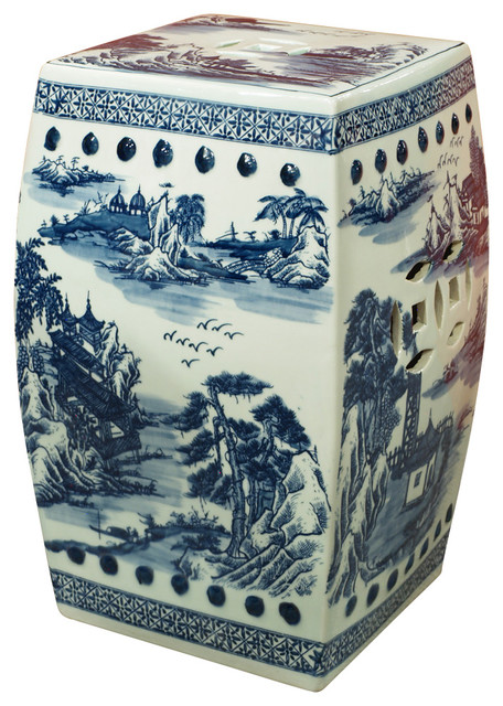 Blue and white scenic porcelain garden stool asian for Asian furniture westmont il