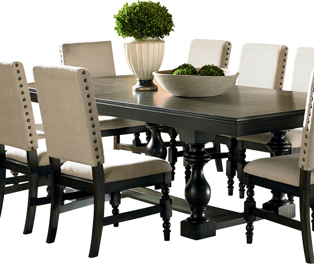 Steve Silver Leona Rectangular Dining Table In Dark Hand Rubbed Traditional Tables