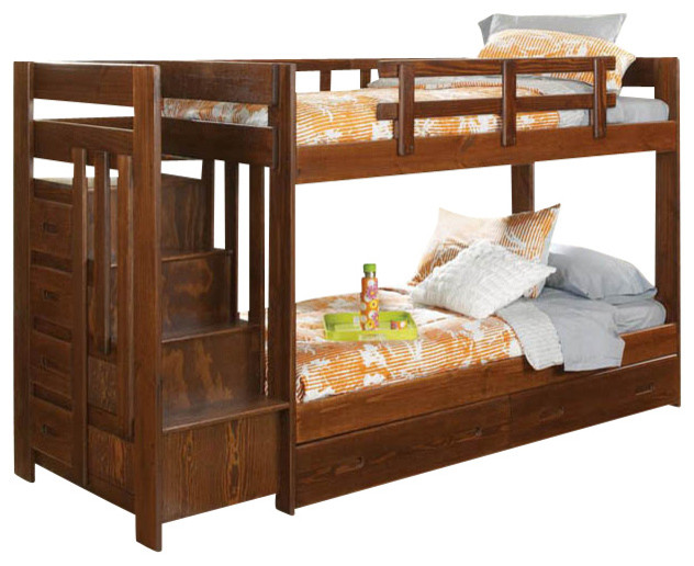 Chelsea home twin over twin reversible stair bunk bed with for Reverse loft bed