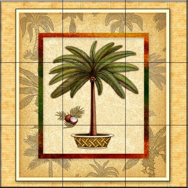 Tile mural palm tree 1 kitchen backsplash ideas for Palm tree bathroom ideas