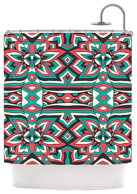 Pom Graphic Design Ethnic Floral Mosaic Teal Red Shower