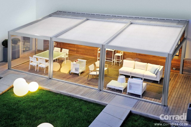 Pergotenda patio awnings with retractable roofs by corradi contemporary outdoor products - Pergola met intrekbaar canvas ...