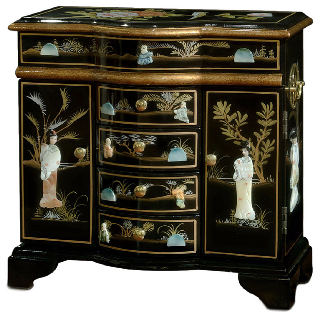 Mother of pearl motif jewelry cabinet asian jewelry for Reproduction oriental furniture