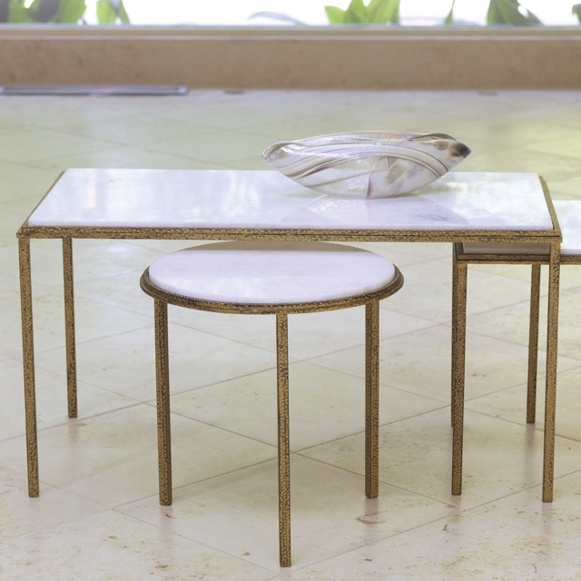 Global Views Furniture Hammered Gold Cocktail Table Contemporary Coffee Tables Charlotte