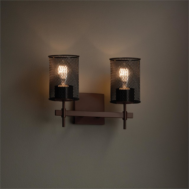 Vanity Lights Industrial : Wire Mesh 2 Light - Industrial - Bathroom Vanity Lighting - by 1800Lighting