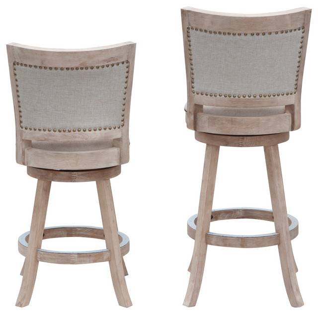 Boraam White-Washed Counter Stool With Wire-Brush Finish
