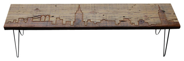 New York Reclaimed Wood Bench Thick 84 Contemporary