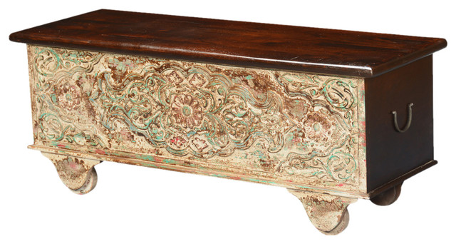 Spring Snow Mango Wood Rolling Coffee Table Storage Chest Traditional Decorative Trunks