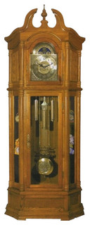 Light Oak Finish Wood Grandfather Clock with Side Curio Cabinets - Traditional - Floor And ...