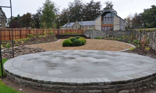 Circular Silver Birch Sandstone Patio With Lights Inset