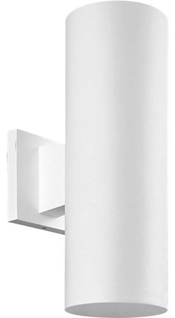 Progress Lighting P5713 30 Cylinder 2 Light Outdoor Wall Light In White Con