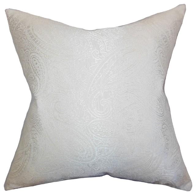 Traditional Decorative Pillows : Cashel Paisley Pillow White 18