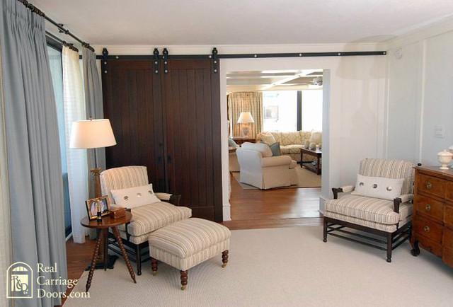 interior sliding barn doors on master bedroom bedroom by real