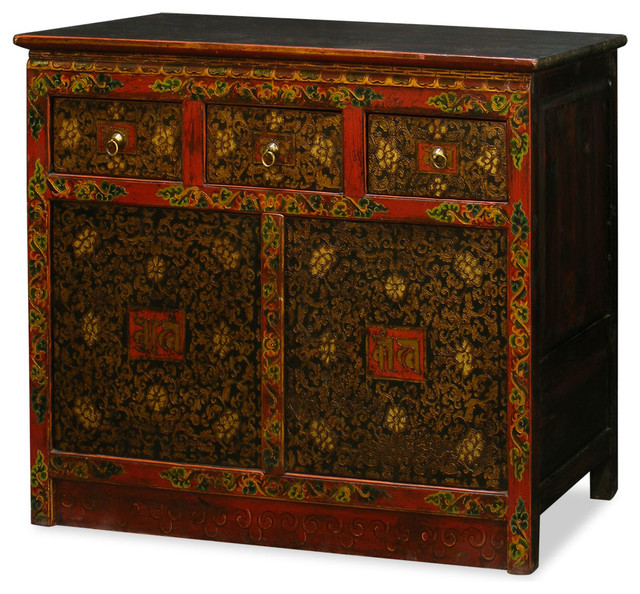 Hand-Painted Tibetan Cabinet - Asian - Accent Chests And Cabinets - by China Furniture and Arts