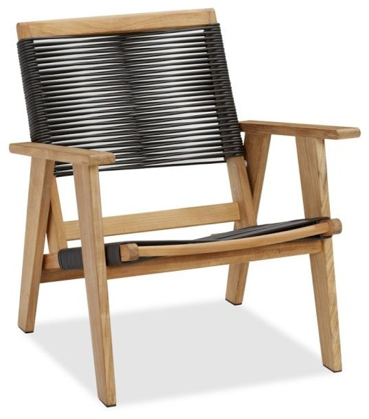 Modern Outdoor Chair: Madera Teak Rope Armchair