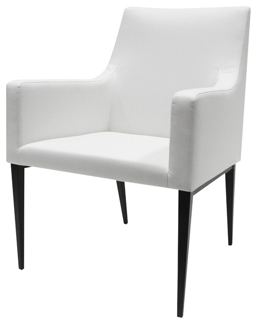 Allan Copley Lauren Dining Chair With Ivory White Leatherette Fabric Contem