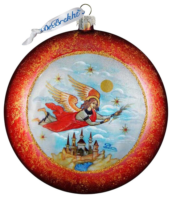 Limited Edition Luxury Christmas Ornaments: Hand Painted Limited Edition Guardian Angel Glass Scenic
