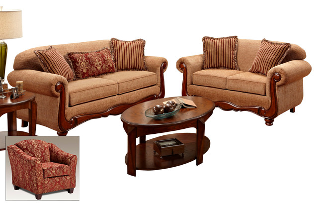 Chelsea Home Linda 3 Piece Living Room Set In Key West Umber Traditional Living Room